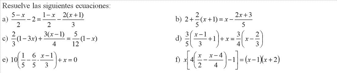 Ecuaciones de primer o segundo grado. 2º ESO